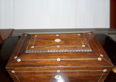 Regency rosewood sarcophagus jewellery box