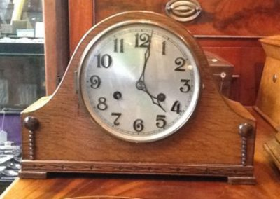 Golden oak mantle clock
