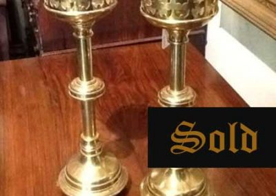 Gothic brass candlesticks SOLD